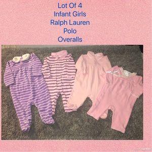 LOT of 4 INFANT GIRLS RALPH LAUREN POLO OVERALLS